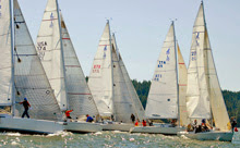J/105s starting at Whidbey Island Race week
