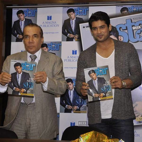 Nari Hira and Sidharth Shukla during the cover launch of Star Week magazine, in Mumbai, on July 31, 2014. (Pic: Viral Bhayani)