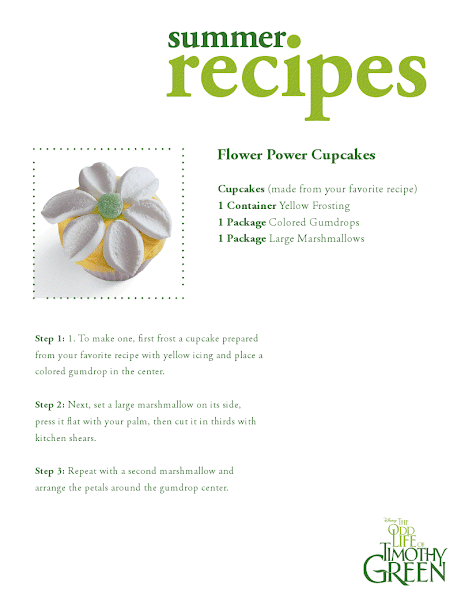 Disney's The Odd Life of Timothy Green Flower Power cupcake recipe