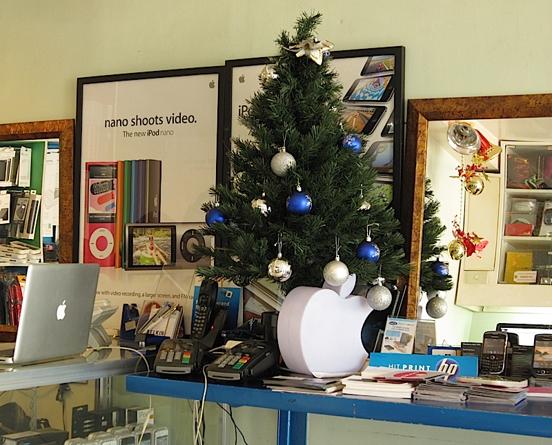 small Christmas tree and Apple logo at Liteware Computers