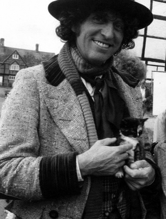 Tom Baker and a cat