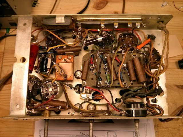 evidently, a candohm section opened up as well – a replacement power  resistor was jumped across the defective section to replace the  functionality