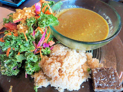 Choice Health Bar's Plate Lunch with kale salad, soup, and quinoa in Lahaina, Maui