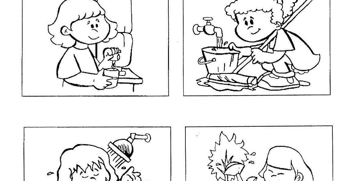 Dibujos Para Colorear Del Agua Para Ninos: Portal Escuela Colorear Uso Del Agua (cuidar El Agua
