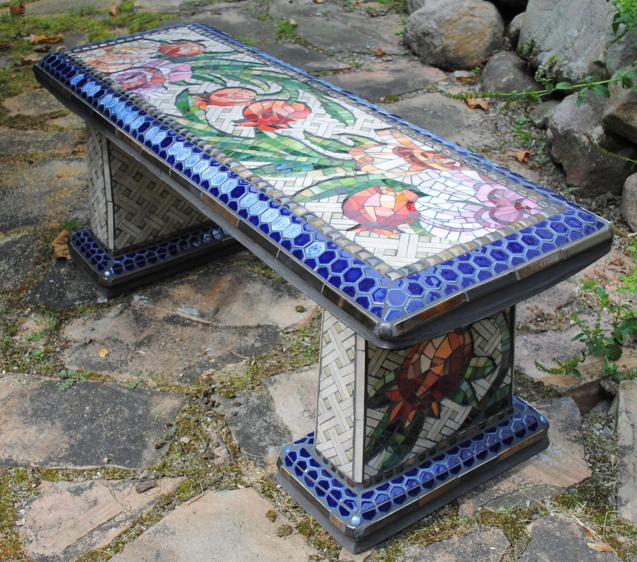 Fresh Mosaic Garden Bench Rose u Pomegranate
