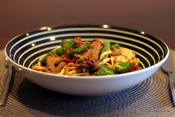 asiatisches paprika rindfleisch mit schwarze bohnen sauce sch ner tag noch food blog mit. Black Bedroom Furniture Sets. Home Design Ideas