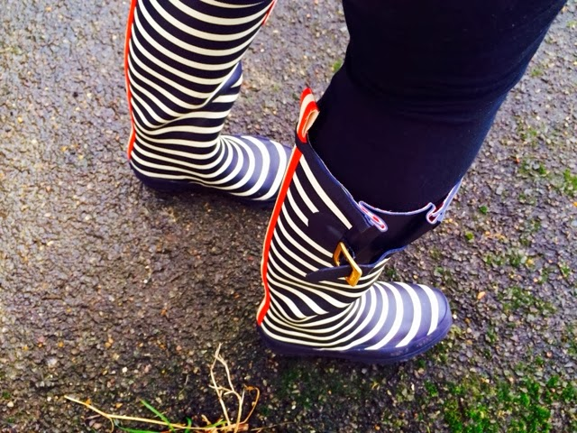 Joules Navy Stripy Wellies