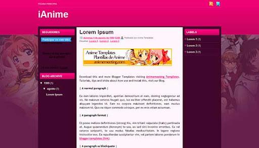 'Anime Plantilla Blogger' iAnime Blog Template