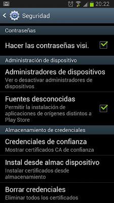 Desinstalar certificados en móvil Samsung Galaxy S3 con Android 4.1.2