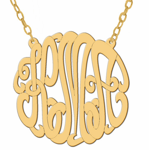 New custom design monogram 14k yellow gold interweave necklace this is a new 14k yellow gold 1 14 inch custom made laser precision cut monogram with a 16 inch gold chain this custom monogram can be changed to any 3 aloadofball Gallery