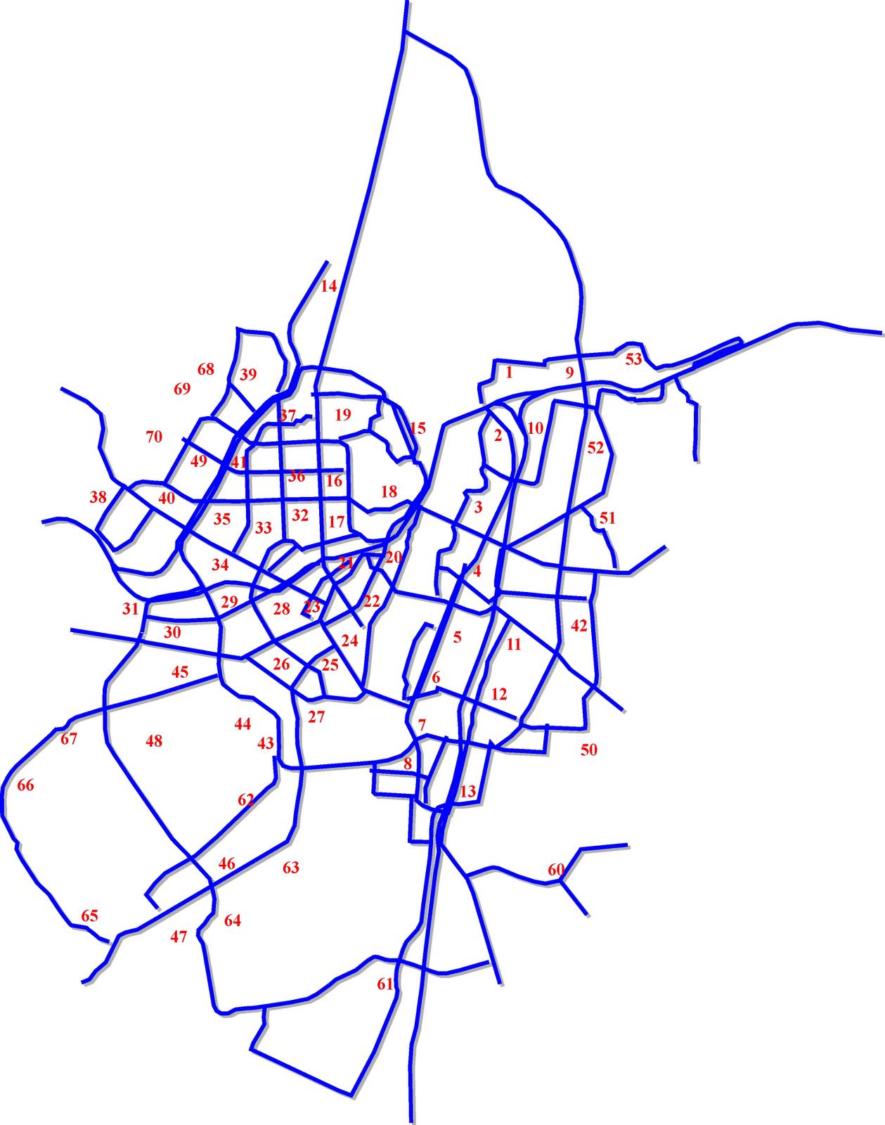3. Границы и номера транспортных подрайонов