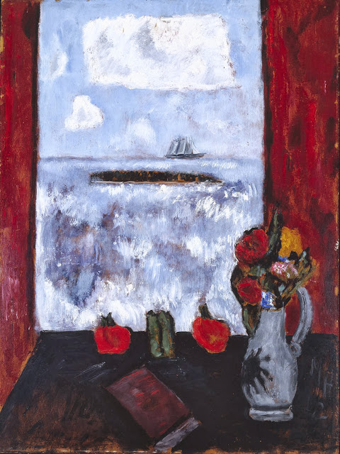 Marsden Hartley - Summer, Sea, Window, Red Curtain, 1942