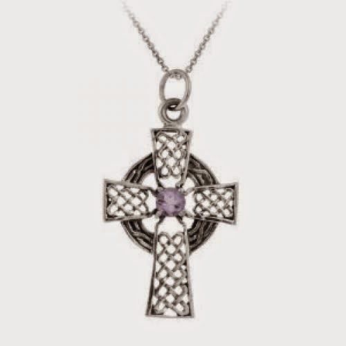 Sterling Silver Celtic Cross With Amethyst Center Pendant 18