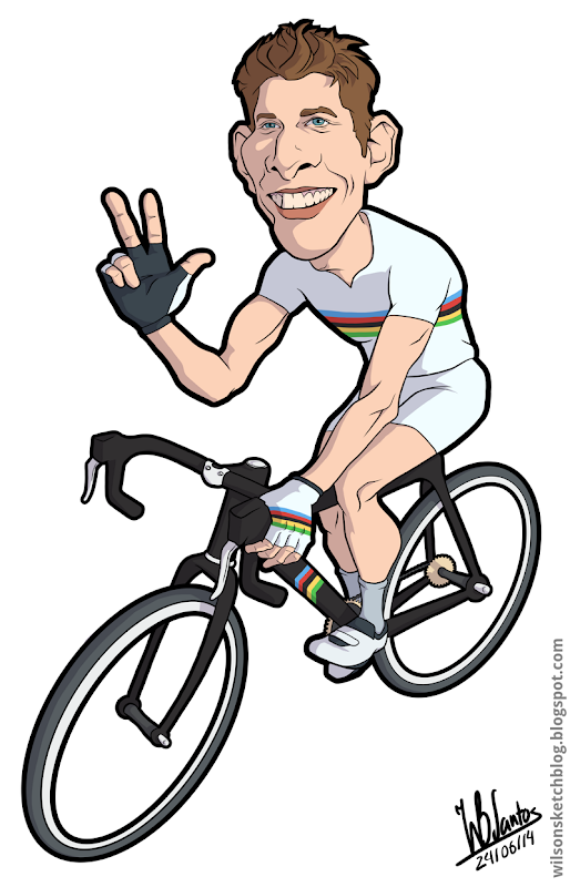 Cartoon of Rui Costa celebrating his 3rd straight win in the Swiss Tour.