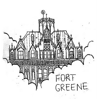 ink drawing detail of Fort Greene in New York