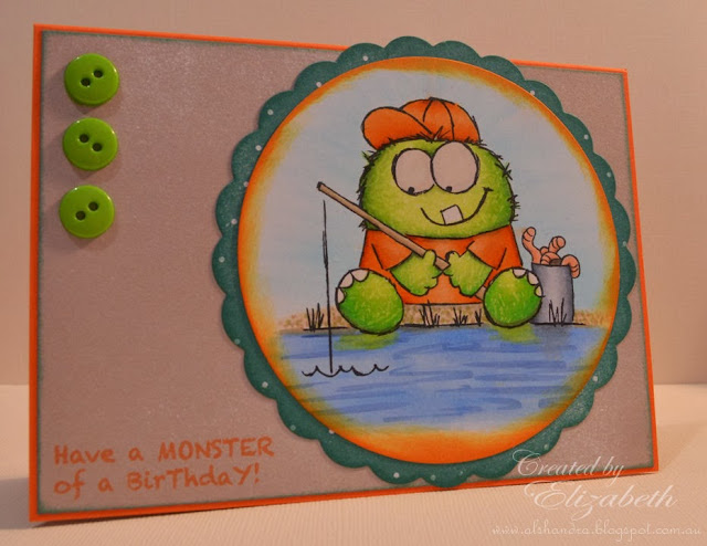 Elizabeth Whisson, Annabelle Stamps, Monster of a birthday, Lil Monster Gone Fishing, Copic