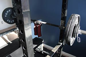 Powerlifting Wrist Wraps on Barbell