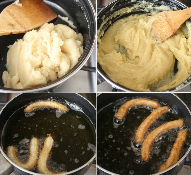 photo collage showing how to make the churros