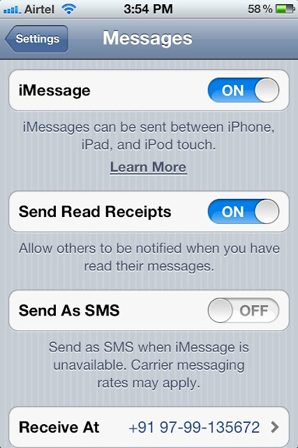 iMessage settings in iPhone