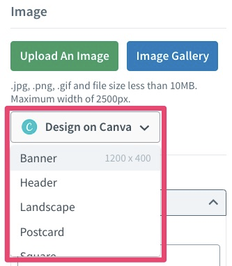 various sizes in Canva button