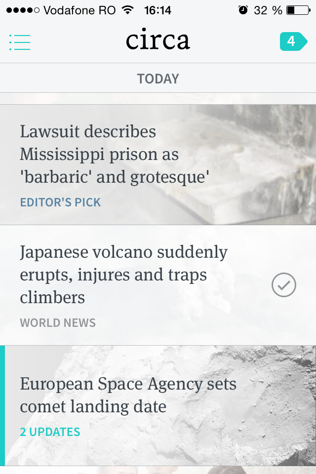 Circa News on iOS: Today view