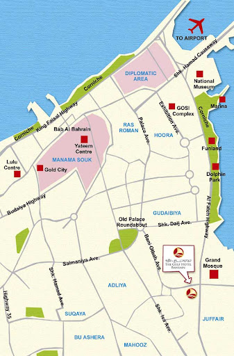 Gulf Hotel Bahrain - Location Map