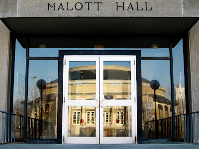 Bailey Hall reflected in the windows of Malott