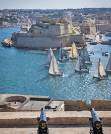 J sailboats- starting off Malta in Rolex Middle sea race