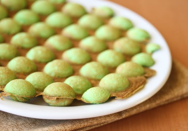 close-up photo of Pandan Flavored Egg Puffs
