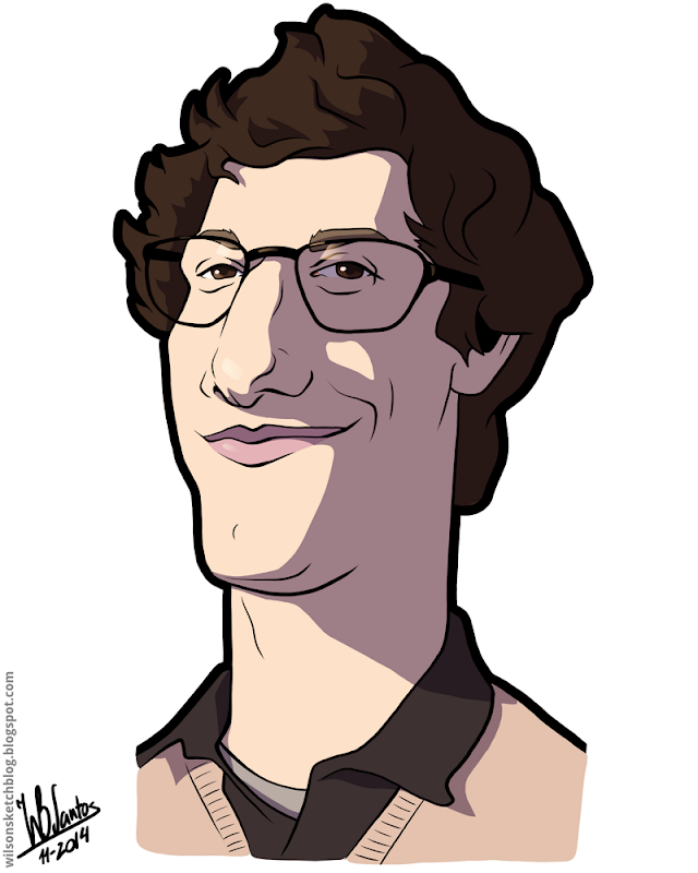 Cartoon caricature of Andy Samberg.