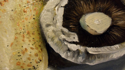 Bread and Mushroom,close up. Daily painting.