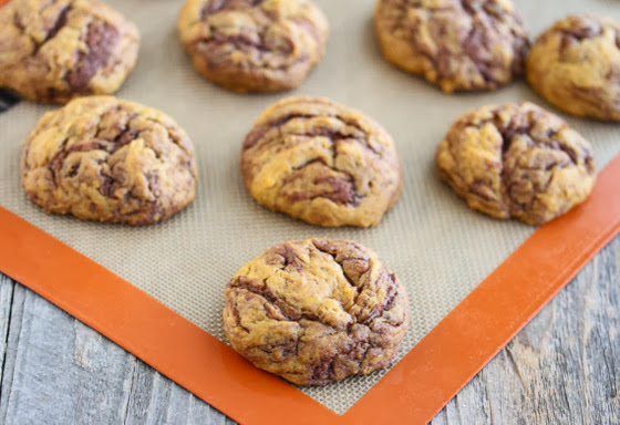 photo of Nutella Swirl Pumpkin Cookies on a silpat