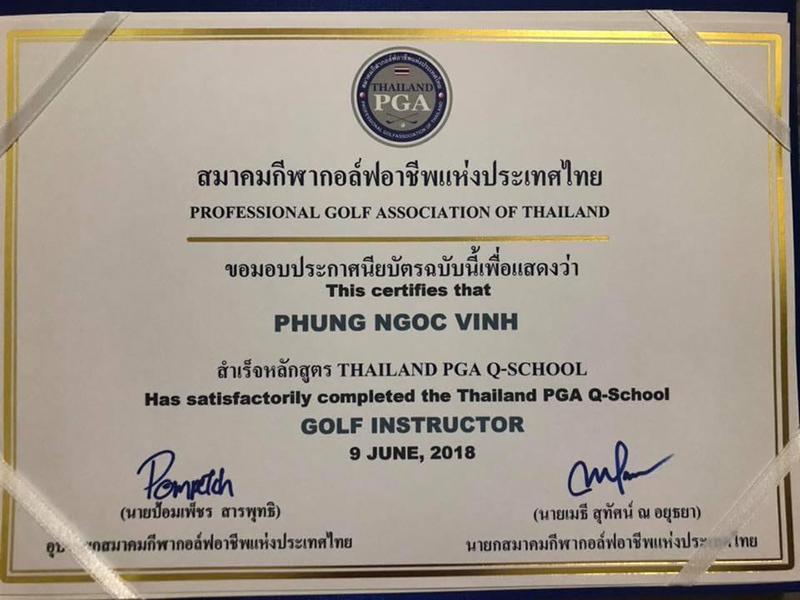 Chứng chỉ của HLV Golf Vinh Phùng được cấp bởi Thailand PGA Q-School