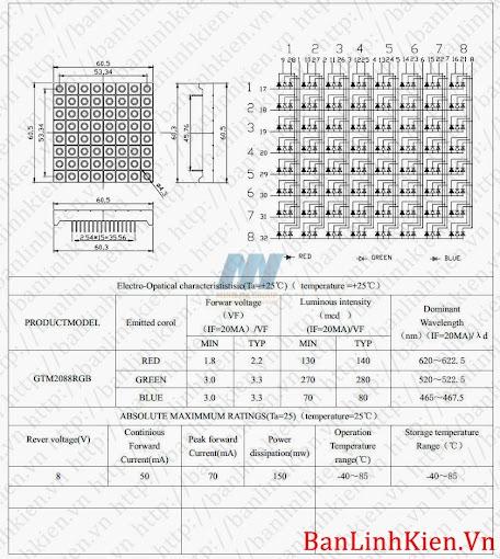 led matrix 7 màu rgb