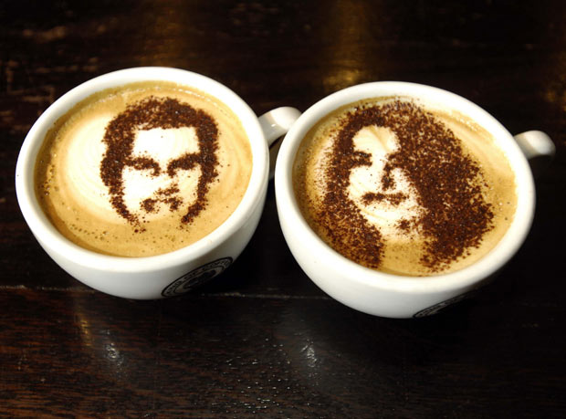 coffee cups featuring the faces of Prince William and Kate Middleton