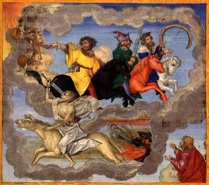 Картина Апокалипсиса в старинной рукописной Библии. Свободное изображение Википедии, предоставил Batchheizer