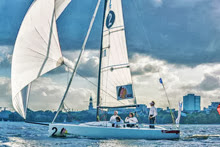 J/70 sailing in Hamburg, Germany- on Alster Lake