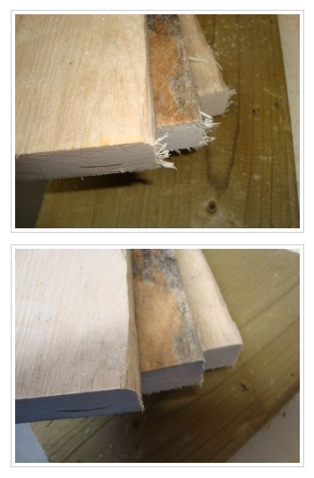 How to saw wood so you don't get frayed edges.