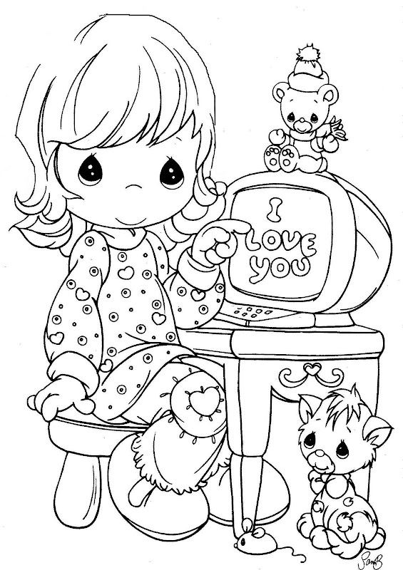 Niña estudiando dibujo de Precious Moments - Imagui