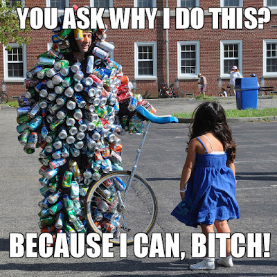 Hilarious image of a man with cans and a unicycle