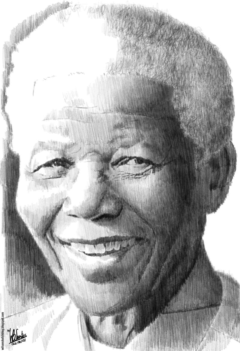 Nelson mandela pencil drawing
