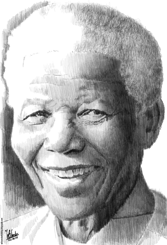 Pencil drawing of Nelson Mandela, using Krita.