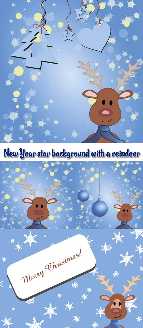 Stock: New Year star background with a reindeer