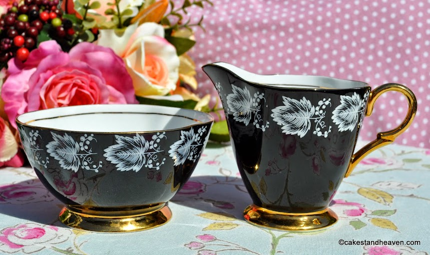 Windsor black and gold vintage creamer and sugar bowl