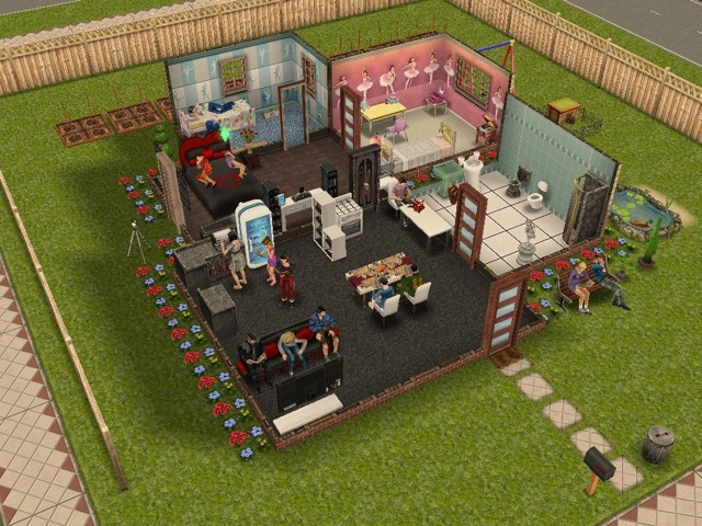 All my sims in one house. The sims freeplay