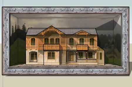 Old World European House in a Box Papercraft