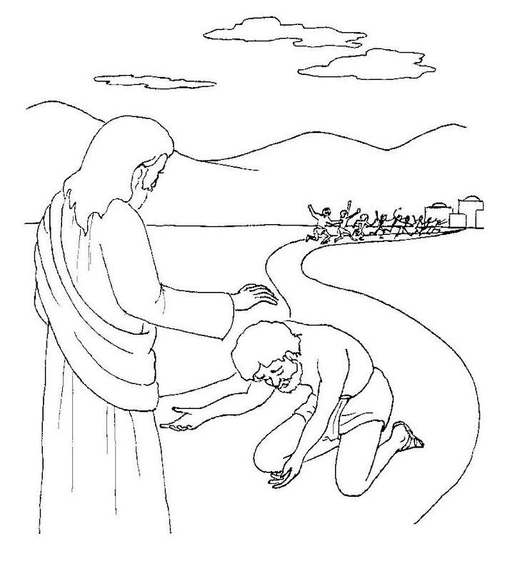 Jesus y los 10 leprosos para colorear