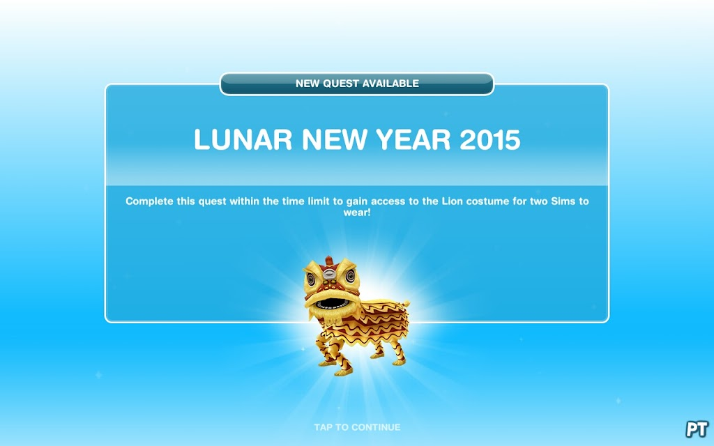 sims freeplay Lunar New Year 2015 quest