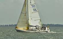J/105 one-design sailboat- sailing upwind on Galveston Bay, Houston, TX