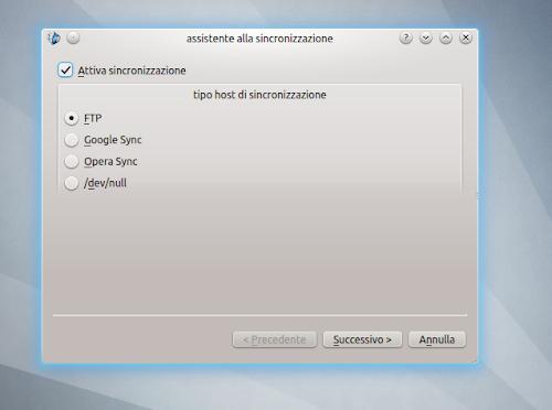 Rekonq - assistente alla sincronizzazione